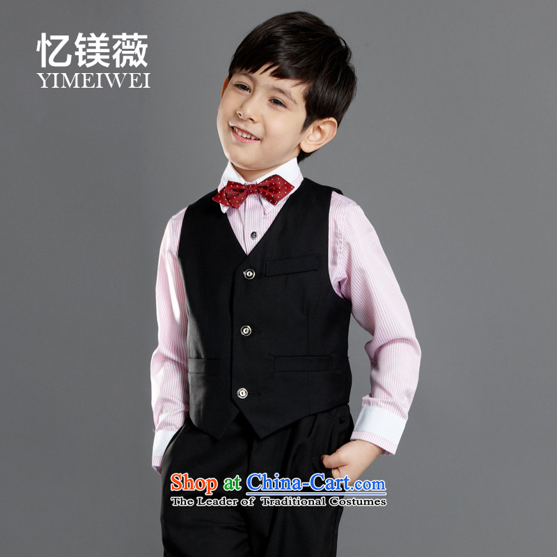Recalling that the disarmament of the new version of Ms Audrey Eu Korean children, a kit Flower Girls dress your baby boy dress suits for the birthday of the age of multi-color toner streaks Optional long-sleeved black horse a black trousers135-145cm rec