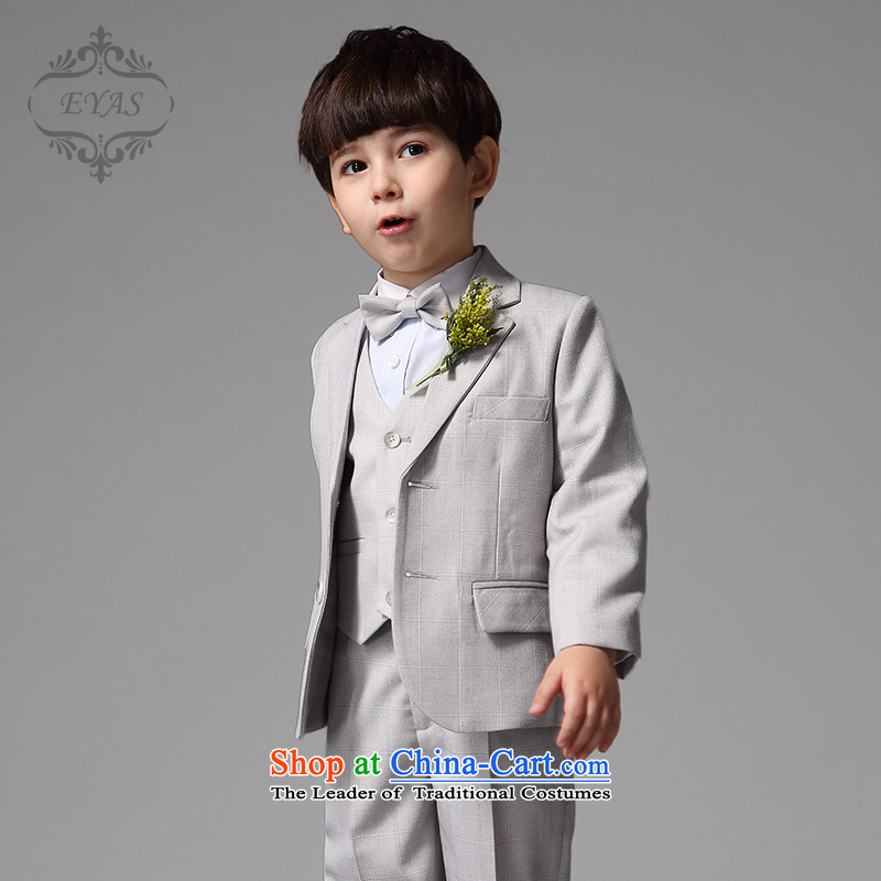 Eyas聽spring and autumn boys upscale children latticed suits Flower Girls Dress Suit boy Four piece set Korean Light Gray Tartan Four piece set _no shirt_ 130