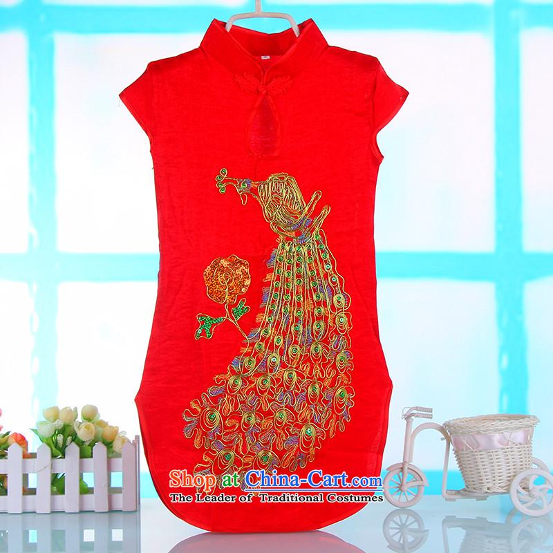 Children's Wear Skirts girls Princess Tang Gown cheongsam red spring and summer children's apparel girls dresses embroidered dress skirt red baby聽140