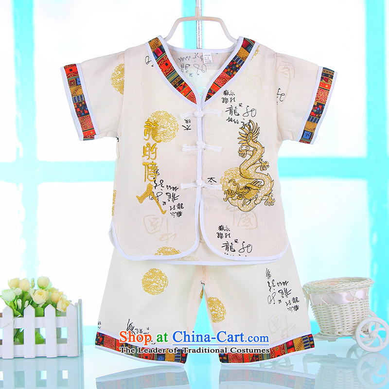 Mr Ronald new boys Tang Dynasty Chinese children with small and medium-sized child short-sleeved baby boy Tang Dynasty Package national costumes m Yellow 90