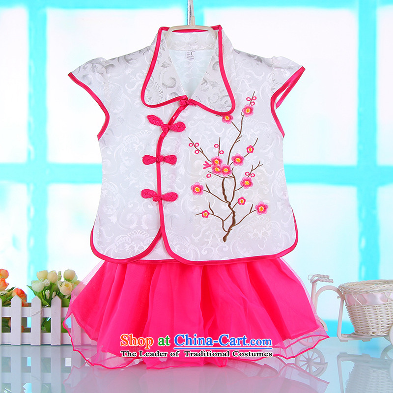 The new baby short-sleeved Tang Dynasty Package Summer Children of Ethnic Chinese Tang dynasty clothing improved girls Tang dynasty summer white聽100cm