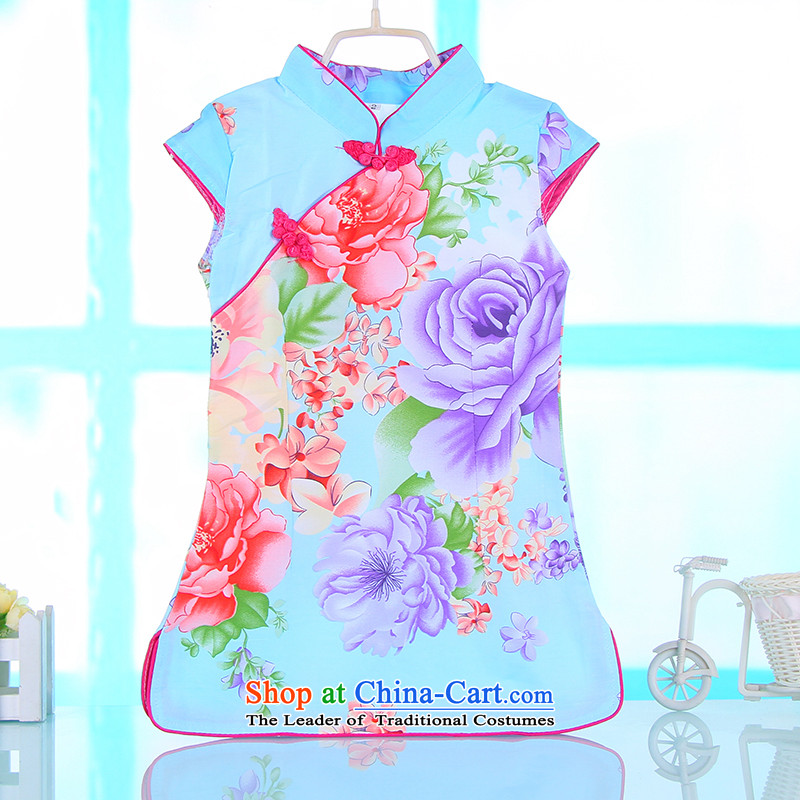 The spring and summer new children Tang dynasty qipao ink Flower Girls short-sleeved dresses Chinese literature and art pure cotton dress your Baby Blue130