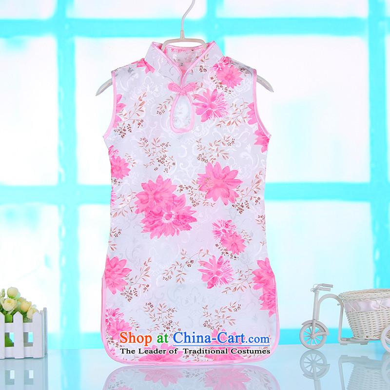 Children qipao girls summer princess skirt pure cotton guzheng will CUHK child cheongsam dress pink dresses140