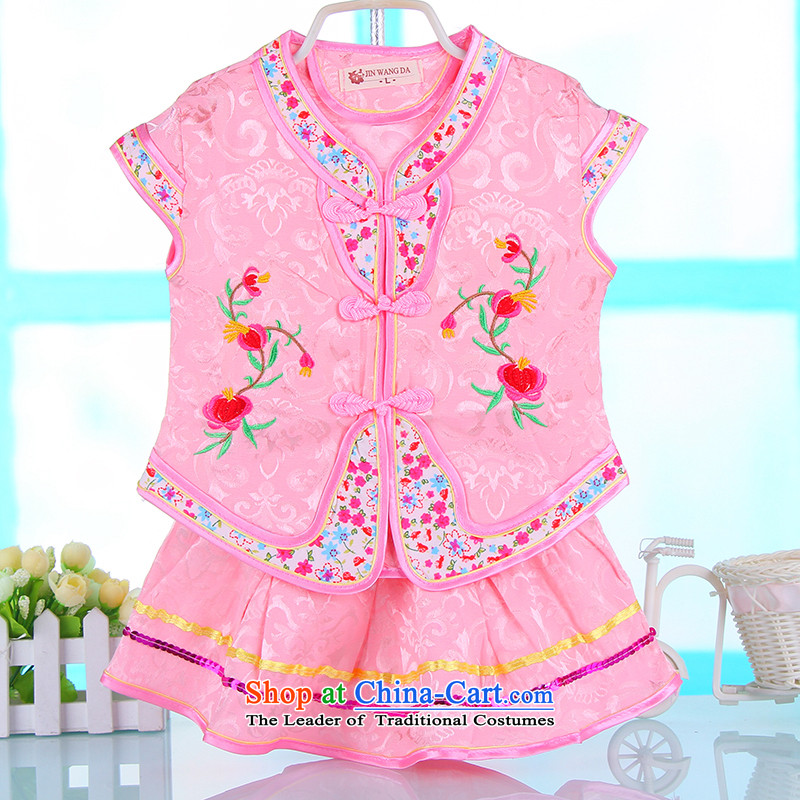 2015 New Summer Children Tang dynasty embroidery girls short-sleeved shirts kit stage costumes will children's wear pink 100
