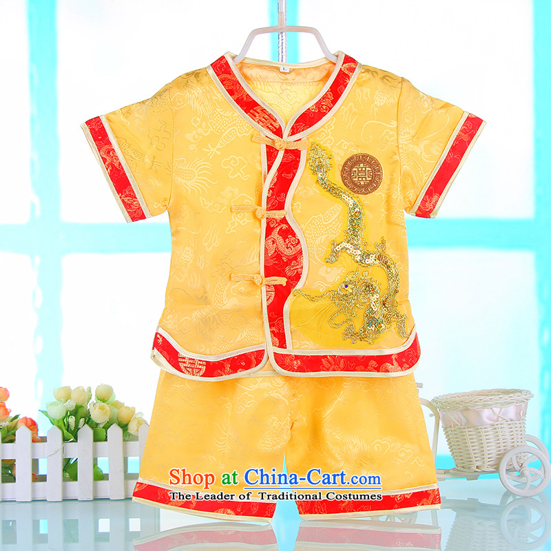 The spring and summer of Tang Dynasty BABY CHILDREN qipao kindergarten will baby is one month old hundreds amanome age dress yellow聽100