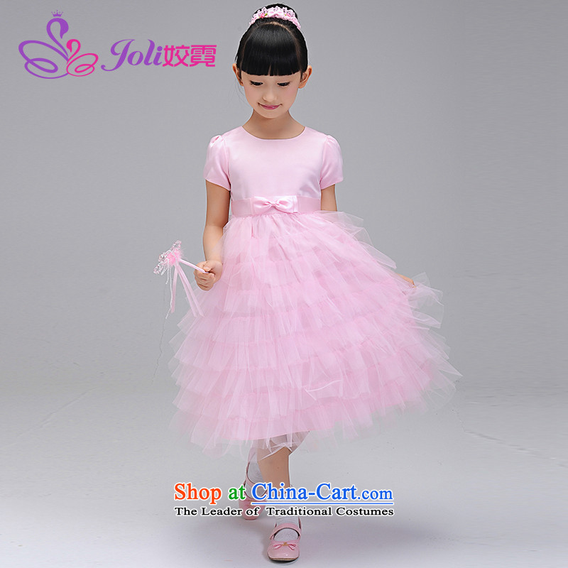 2015 new wedding flower girls dress children female wedding dress princess girls will dress skirt dress in spring and autumn dress pink bon bon Uganda 140