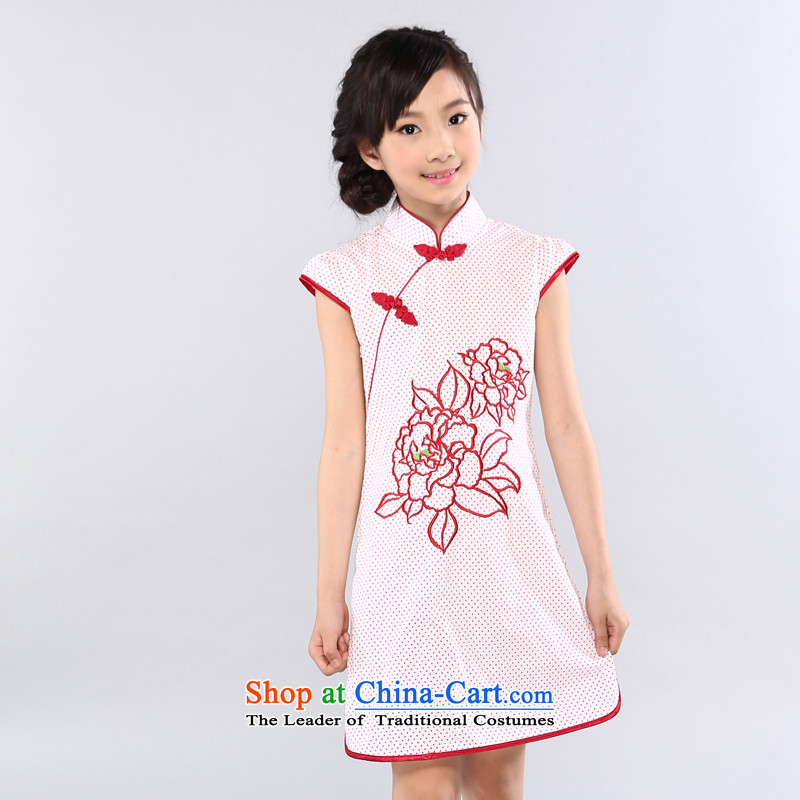 Ethernet- summer 2015 New China in size child qipao girls guqin guzheng show services lovely humorous wave point of Qipao flowers series safflower shadow 150
