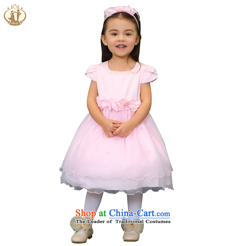 Tien Po Children dress princess skirt infant and child age dress spring and summer Flower Girls wedding dress children bon bon moderator serving girls dancing services Pink 100cm