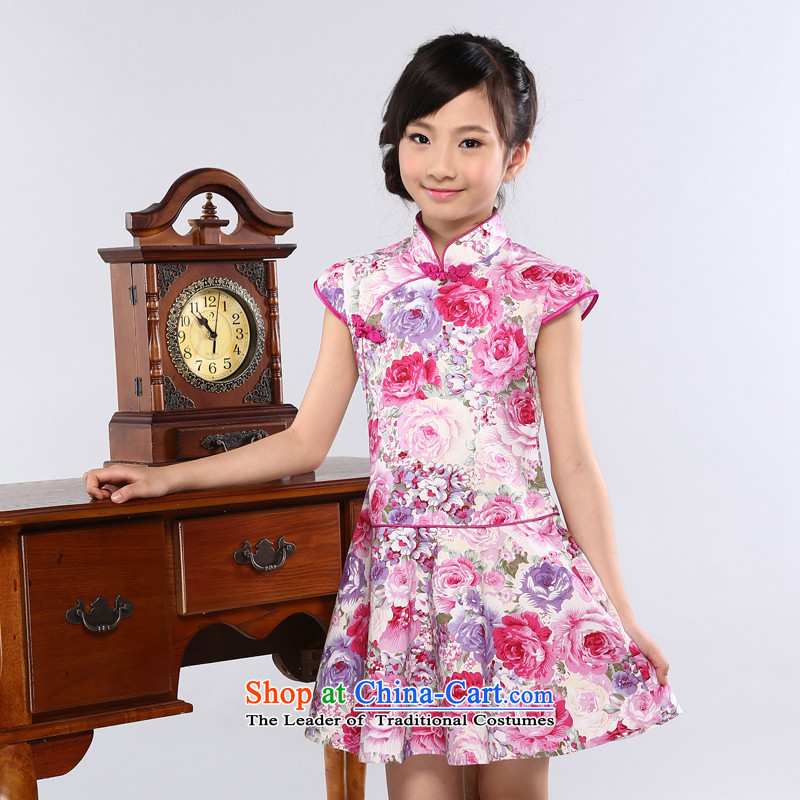 Ethernet in the summer of 2015, child-care New China wind a view of the Red CUHK child improved large petticoats qipao girls instrument performances services dresses up red feelings 160