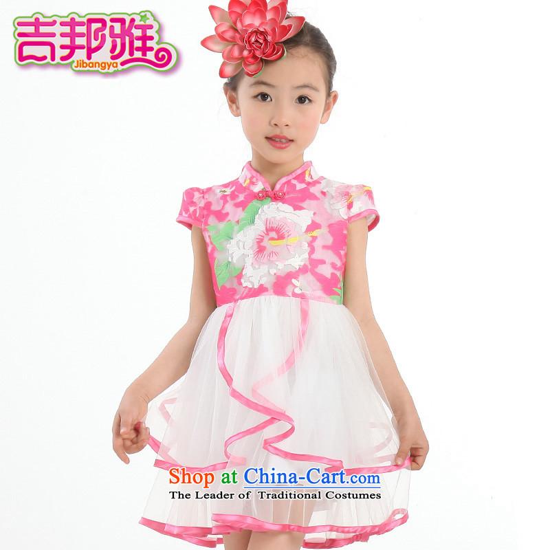 Yoshikuni ya 2015 Summer new women's child lace skirts of CUHK will retro ethnic dress the yarn dresses GQ15022408 better Red130