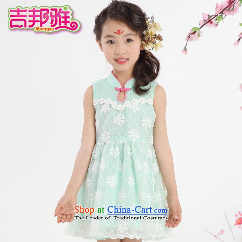 Yoshikuni ya 2015 Summer new women's children of ethnic qipao CUHK sleeveless skirt will dress classical skirts GQ15022416 beans Green130