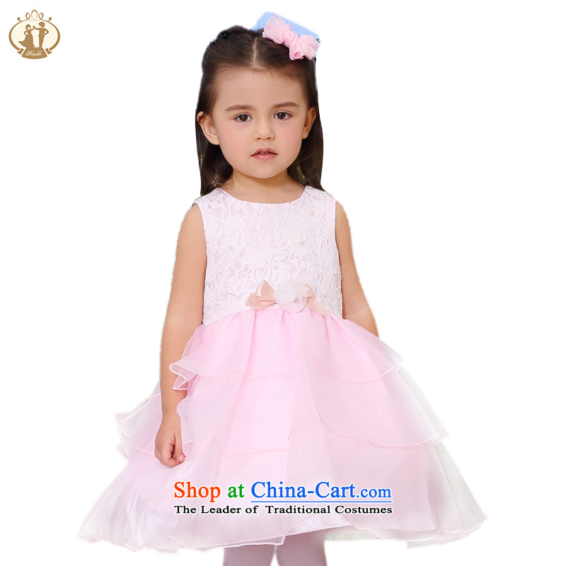 Tien Po 2015 new child princess skirt wedding flower girls skirt girls lace manually booking flowering dress skirt baby years skirt lovely cakes skirt Pink 90cm