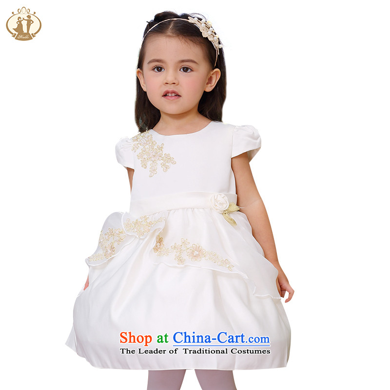 Tien Po 2015 Summer new child dresses Korean girls short-sleeved embroidery princess skirt flower girl children dress skirt children show skirt m/Kim90cm