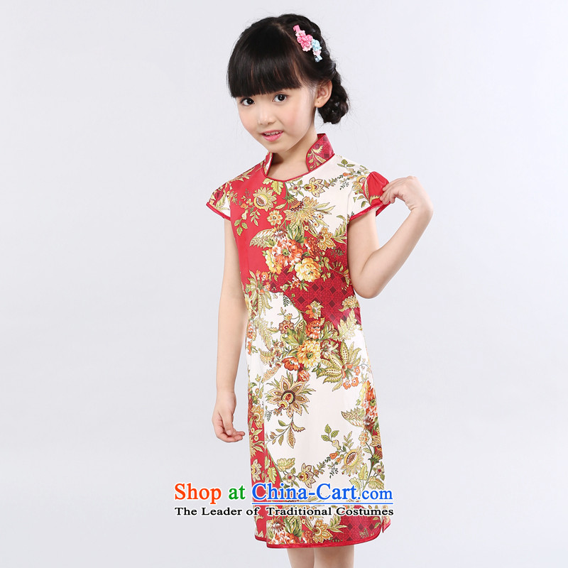 Ethernet-water droplets collar golden Ambilight Spectra in size child qipao girls China wind dresses guzheng instrument performances services golden Ambilight 160
