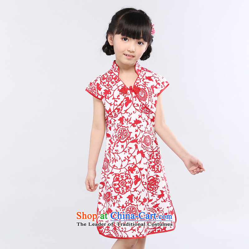 Ethernet-Chinese classical SST celadon porcelain water droplets from the red collar of large, medium-sized child of Chinese-style qipao girls dresses guzheng instrument performances service means a red porcelain 160