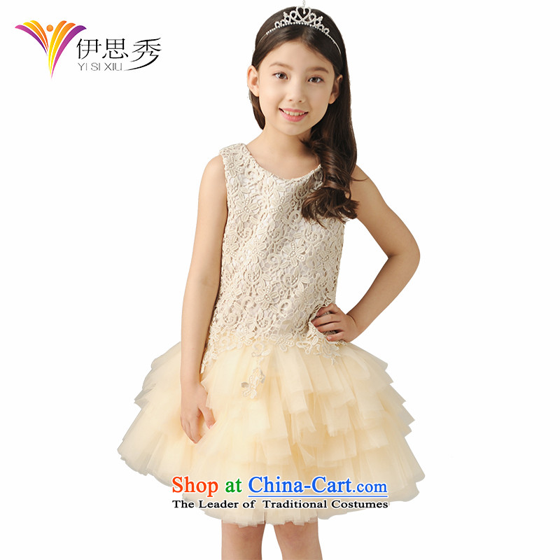 The league-Soo Choo, children will dress skirt girls princess skirt bon bon skirt students under the auspices of skirt flower girl choral dress skirt T1002 champagne color 160