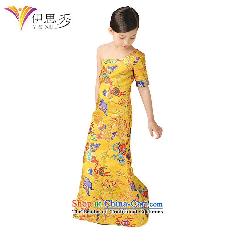 Miss Cyd autumn and winter league of new child will girls dress China wind children robes of the dragon, Tang Dynasty Show qipao skirt auspices show picture color T1004 costumes and long 160