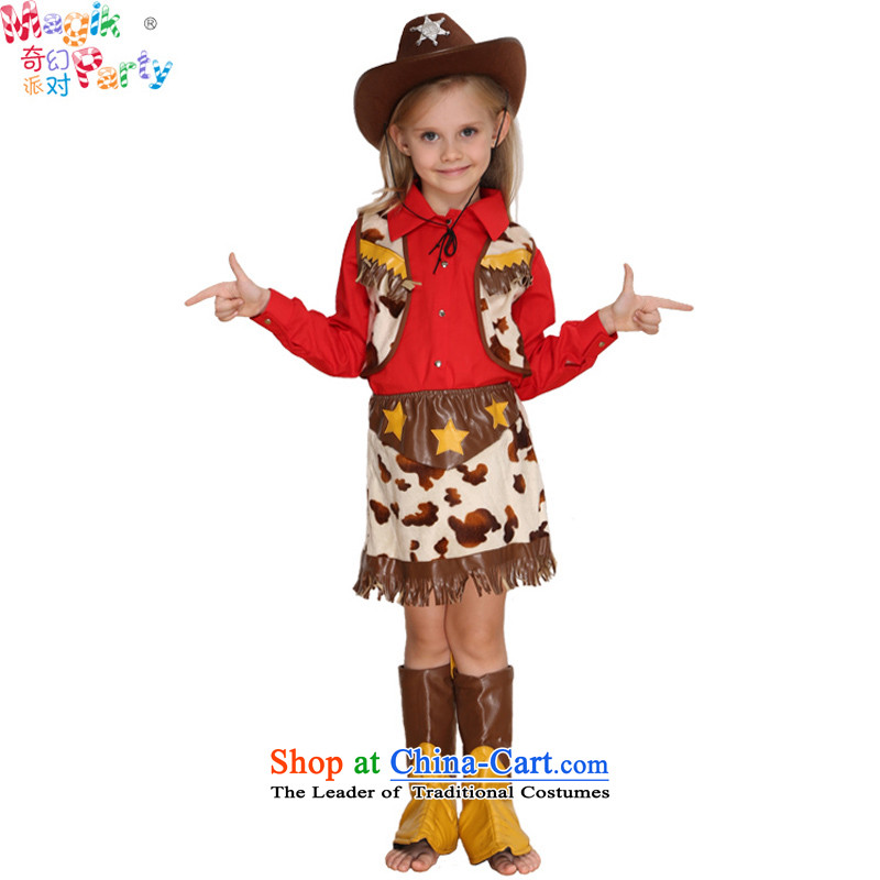 Fantasy to celebrate Children's Day to send girls costumes denim dress photography show apparel female cowboy kindergarten Sergeant Sergeant Denim Women's clothes130(9-10 code)