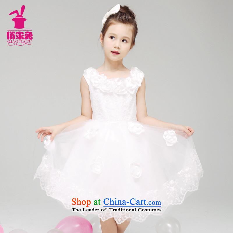 For rabbits spring of 2015 girls field shoulder dresses children performances skirt dress skirt Flower Girls Princess skirt bon bon150cm(145-155cm) white high dress