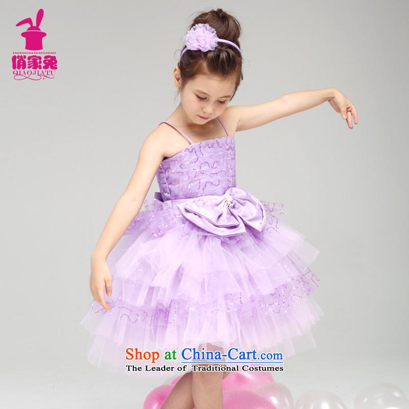 For Rabbits 610 children will come on the girl child, children serving ballerina small dress Flower Girls Princess skirt light purple150cm(145-155cm lovely Princess Skirt)