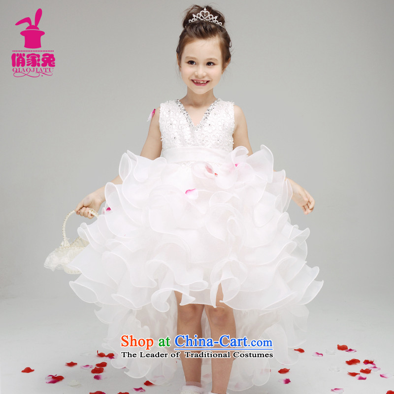 For rabbits upscale Korean girls princess skirt children wedding dresses tail skirt Flower Girls small dress skirt white with white聽150cm_145-155cm lovely Princess Skirt_