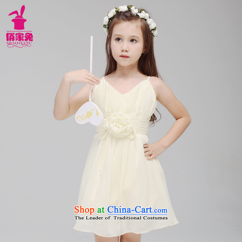 For rabbits new girls 2015 Spring/Summer Snow woven strap skirt 61 violin performance skirt Flower Girls small light yellow 150cm(145-155cm lovely Princess Skirt)