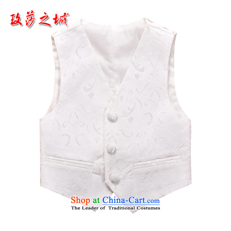 Boys School performances white jacquard waistcoat and Flower Girls wedding ceremony at shoulder children embroidery section birthday activities small vest tailored white jacquard140