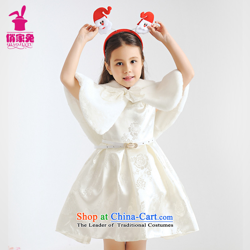 For rabbits children evening dresses princess skirt will Spring Flower Girls Preppy white dresses girls birthday white 150cm(145-155cm lovely Princess Skirt)
