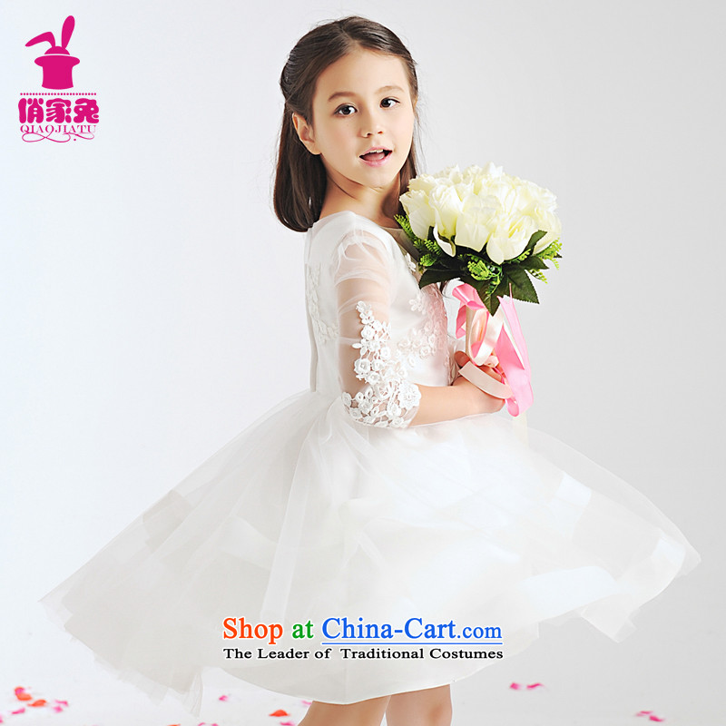 For rabbits children dress girls princess skirt Flower Girls wedding dresses bon bon skirt Birthday Concert choral services girls 140cm(135-145cm White Flower Girls dresses)