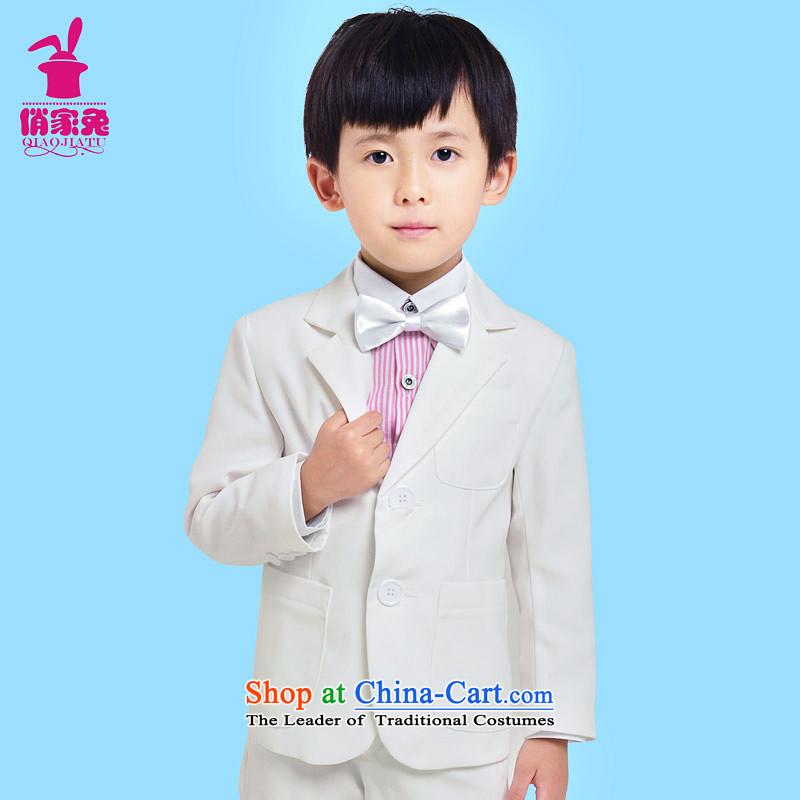 For rabbits children suit male Flower Girls dress children's wear new Korean version of large suit male half small children who wedding dress dress jacket white spring and autumn140cm(135-145cm) White