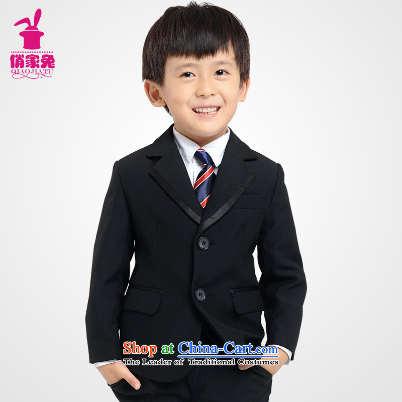 For rabbits children dress suit Korean Boy leisure suit coats Flower Girls small black suit kit of children and teenagers in the small business suit 5 piece聽 100cm_95-105cm_