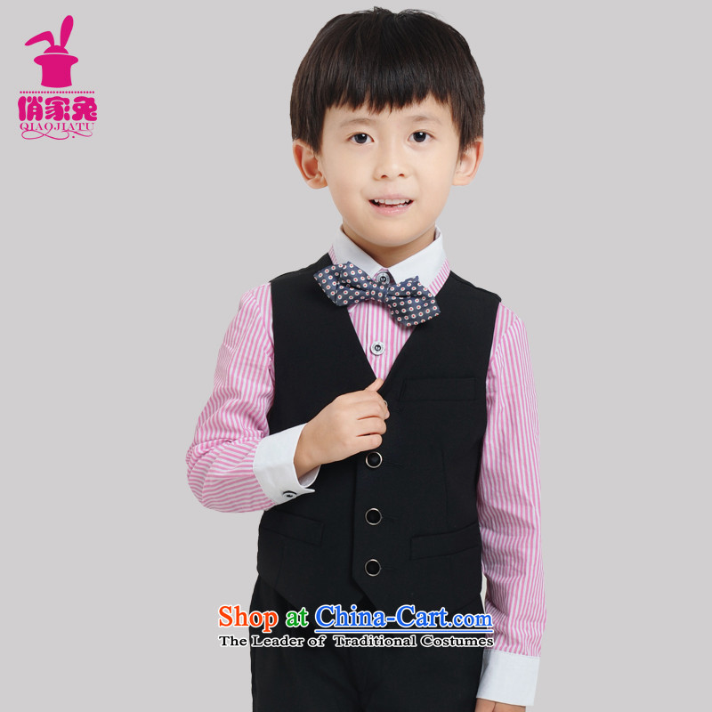For rabbits Korean new Children's dress suit small packaged new black vest jacket Flower Girls from red shirt with banquet black suit110cm(105-115cm)