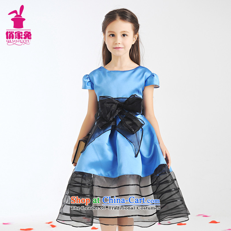 For the new Children 2015 rabbits dress Cinderella Skirt 61 performances princess skirt girls dress skirt wedding ceremony of the Child Spring Blossoms  140cm(135-145cm) blue