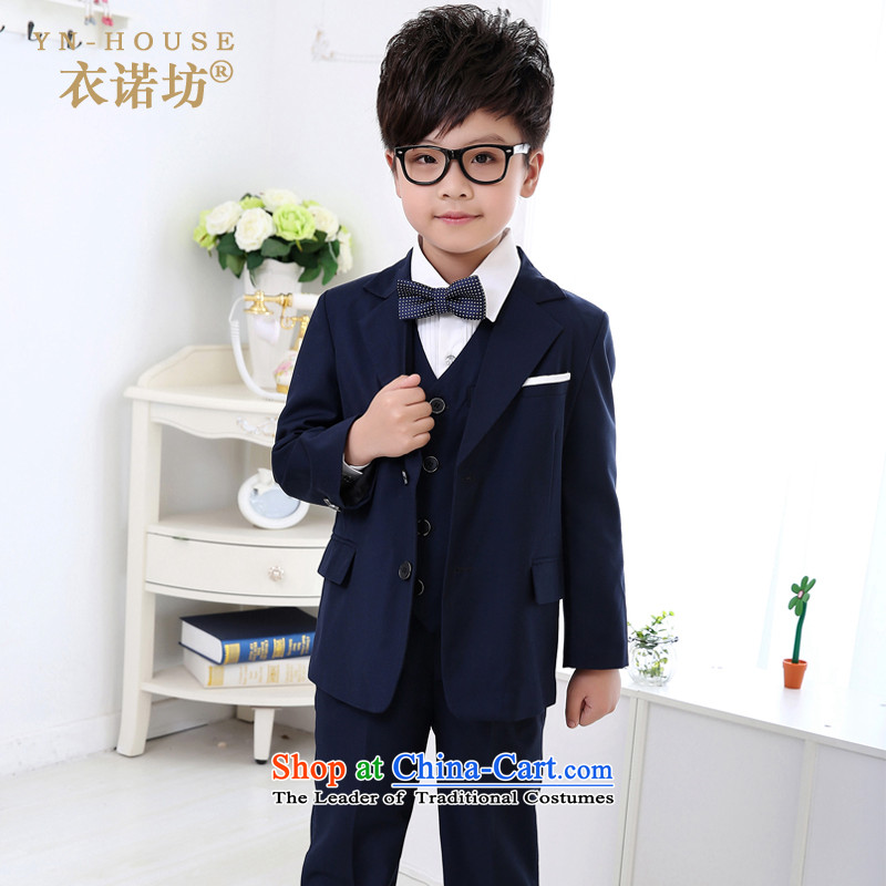 The workshop on children in suits yi dress boy classic black, Solid Color children fall will give the new 2015 strap kit with navy blue vest 130cm