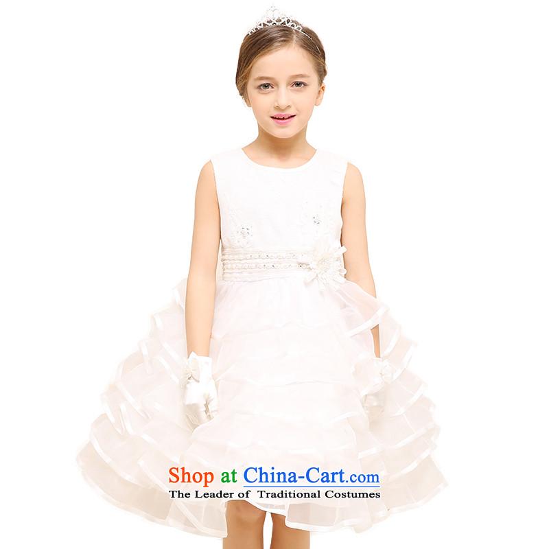 In accordance with the2015 Children land picking wedding dress skirt princess skirt girls in summer princess skirt dalian garment waist water drilling cake skirtLCY24White150