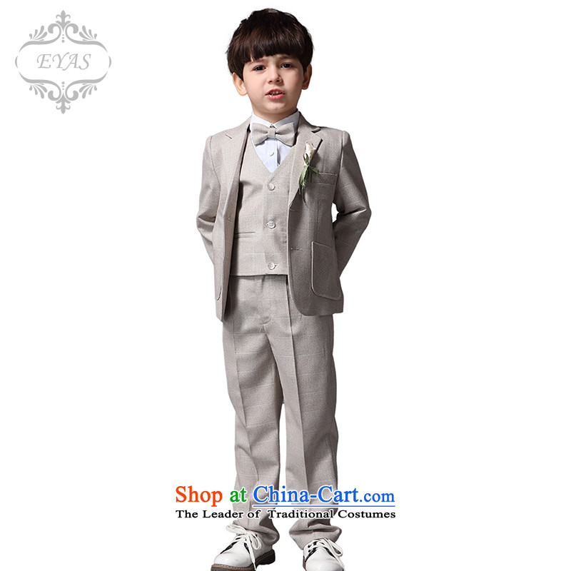 Eyas of children's wear new spring and autumn boy latticed suits kit small children spend dress suit will Four piece set Ma Gray Tartan Four piece set _no shirt_ 130