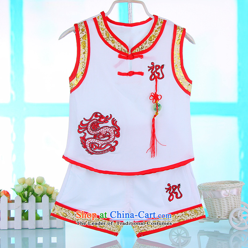 Summer 2015 new boy child baby Tang Dynasty Package show birthday embroidered uniform 4674A white 100cm
