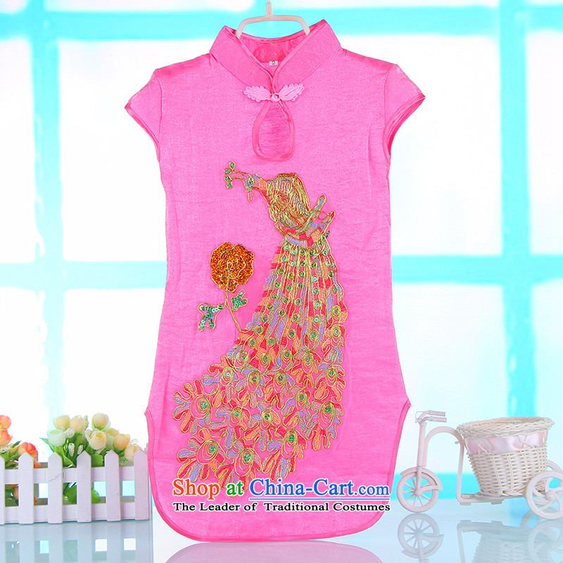 Children's Wear Skirts girls Princess Tang Gown cheongsam red spring and summer children's apparel girls dresses embroidered dress skirt 4689A baby pink聽140