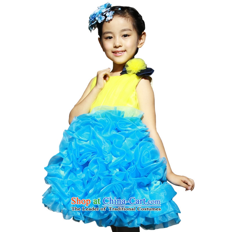Bathing in the estate of the colleagues of the girl child and of children's wear skirts dress princess skirt bon bon skirt the little girl children dance performances will dress wedding dresses blue & yellow color plane collision140cm