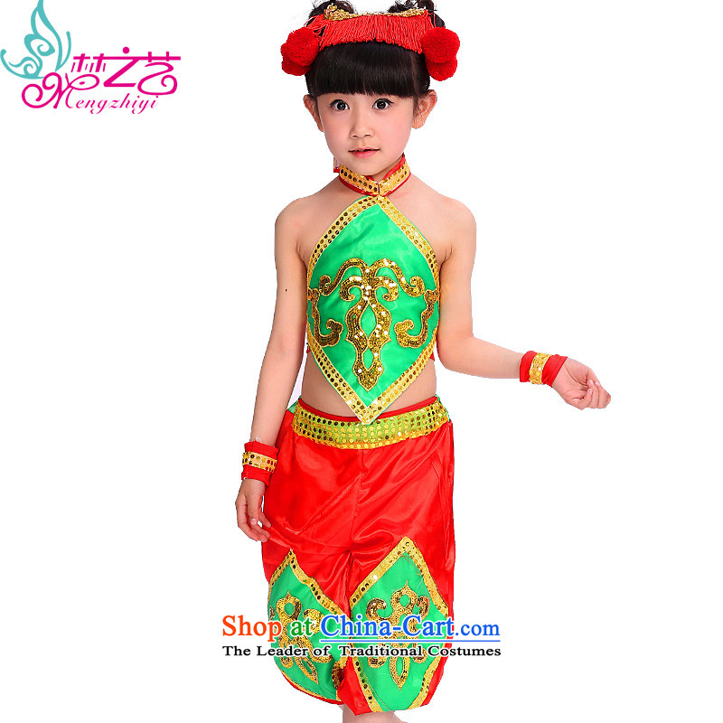 The dream of children of ethnic arts 610 costumes girl child care to children of ethnic minorities summer performances of the Manchurian MZY-0279 green red uniform trousers 140