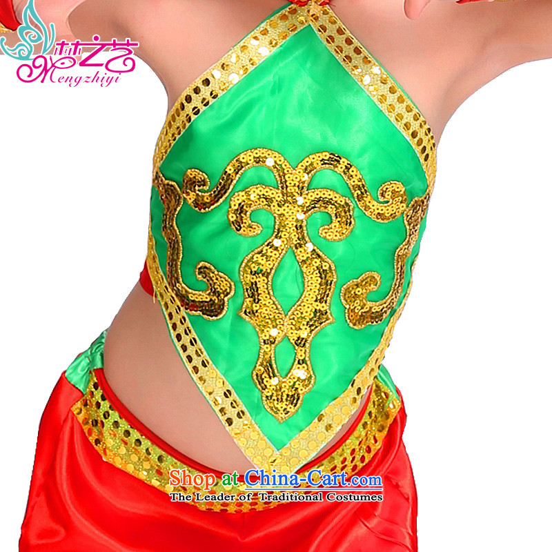 The dream of children of ethnic arts 610 costumes girl child care to children of ethnic minorities summer performances of the Manchurian MZY-0279 green red uniform trousers 140 dream arts , , , shopping on the Internet