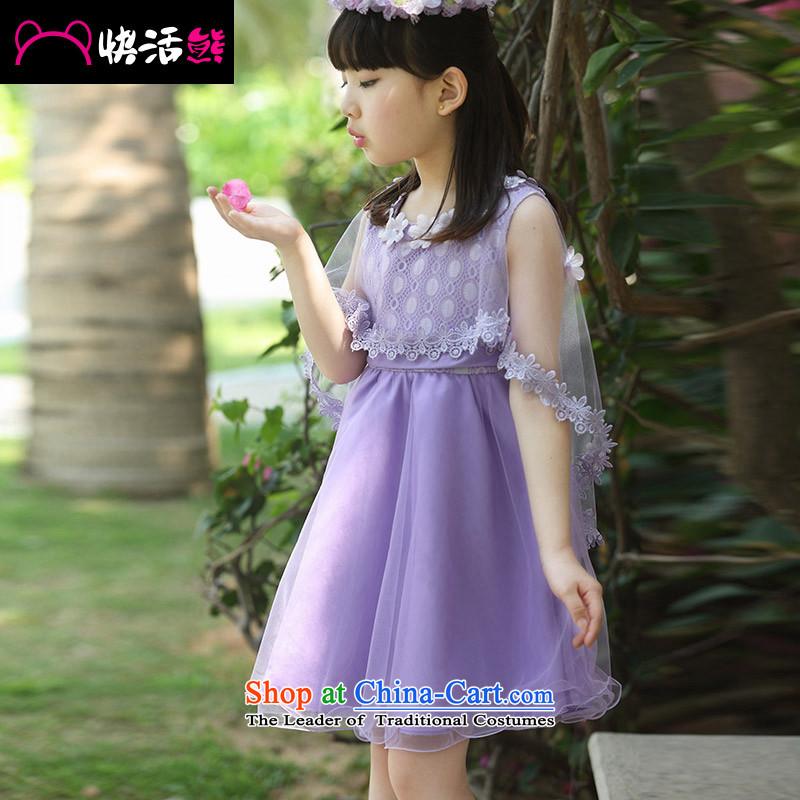 Happy Xiong 2015 summer, reinsert the girl child will children's wear dresses CUHK child round-neck collar white lace bon bon dress short-sleeved princess skirt Violet110