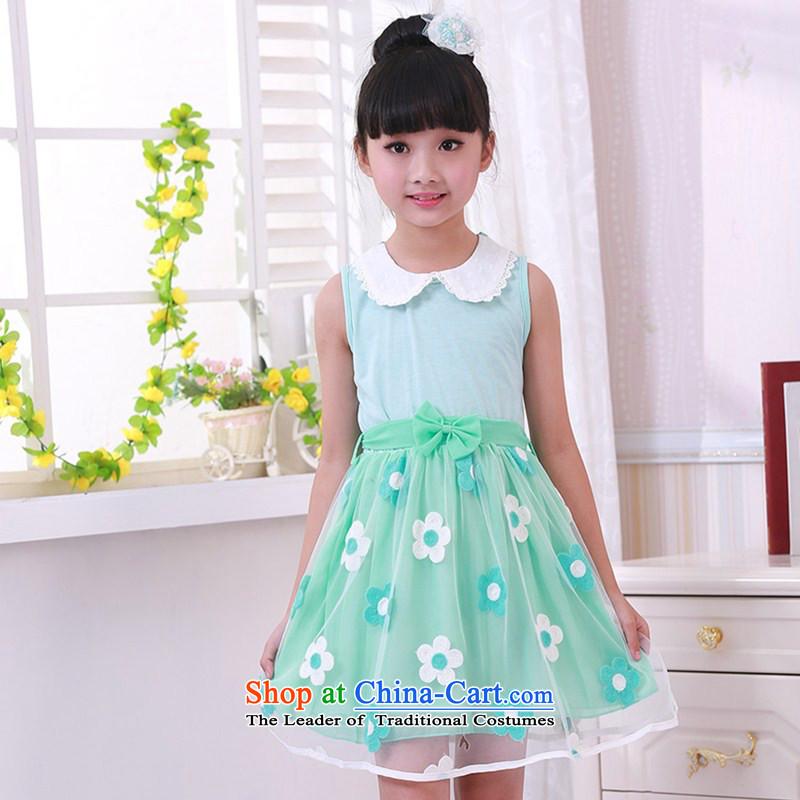 Show celebrate Children's Day costumes and new spinning girls dresses Korean lovely princess skirt Light Blue160