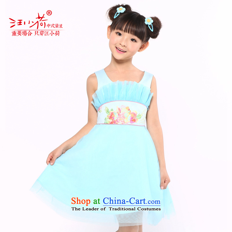 I should be grateful if you would have the girl children's wear small Wang Xia, children's wear dresses embroidered dress uniform X5299U blue 160/156-165cm/ performances