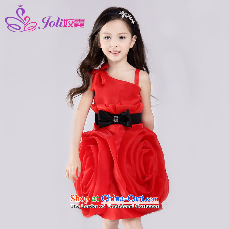 Each Ngai Princess skirt to live piano music and dance to the girl child wedding flower girls dress princess skirt stereo flower children dresses Red 160