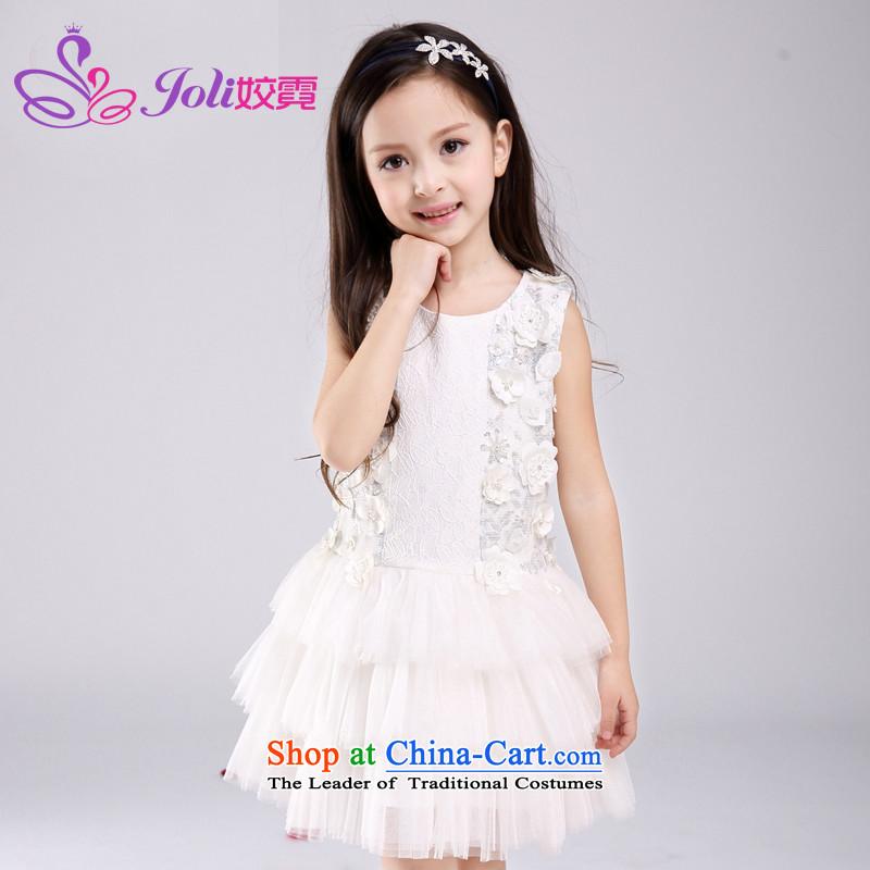 Each Princess skirt girls Ngai dress wedding dress girls dresses CUHK children summer gown embroidery Stereo will spend160 White