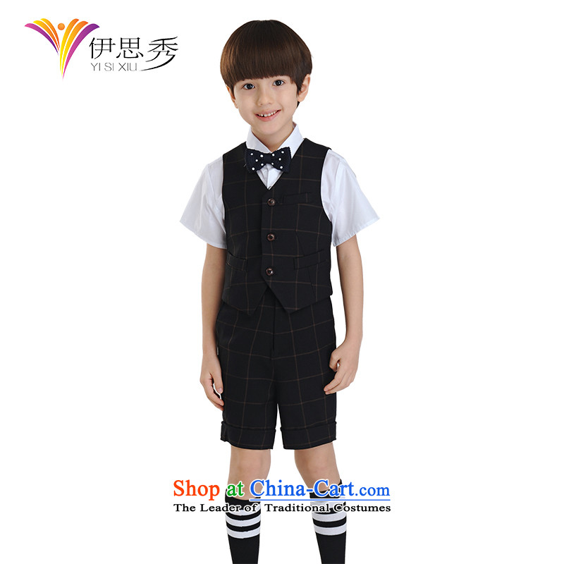 The league-Soo Choo, children will vest kit wedding flower girls dress boy students under the auspices of costumes dress suits for the small child M1010 CUHK black tartan vest Kit 160