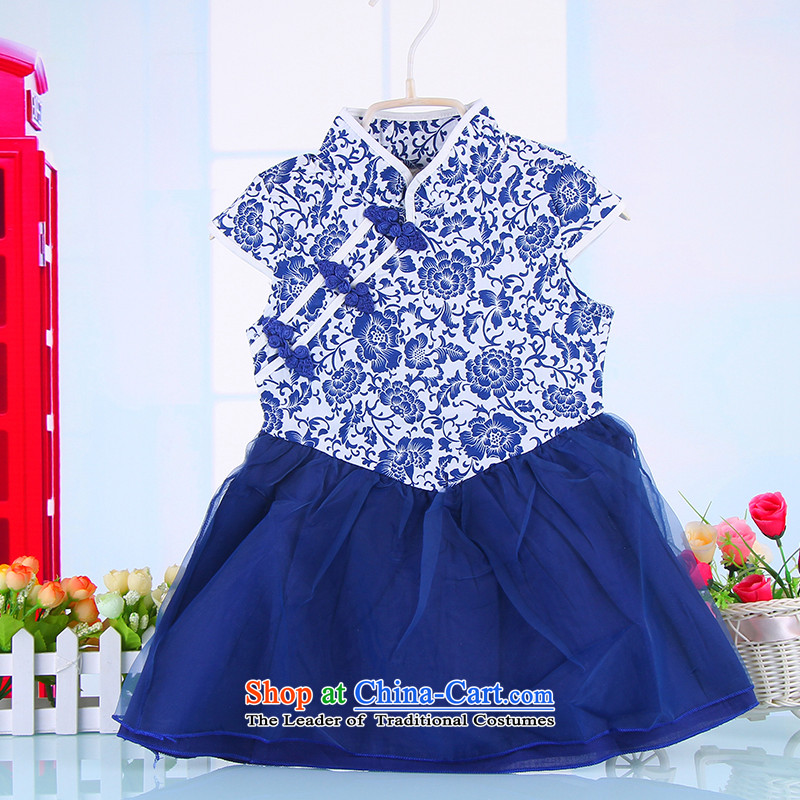 Children qipao girls Tang dynasty princess dresses skirt 61 female babies dance performances to porcelain child skirt Blue120