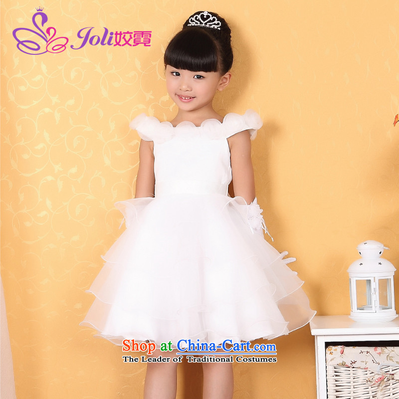 Each Princess skirt girls Ngai girl children's apparel will Flower Girls dress 2015 Summer girls short-sleeved princess skirt White 160