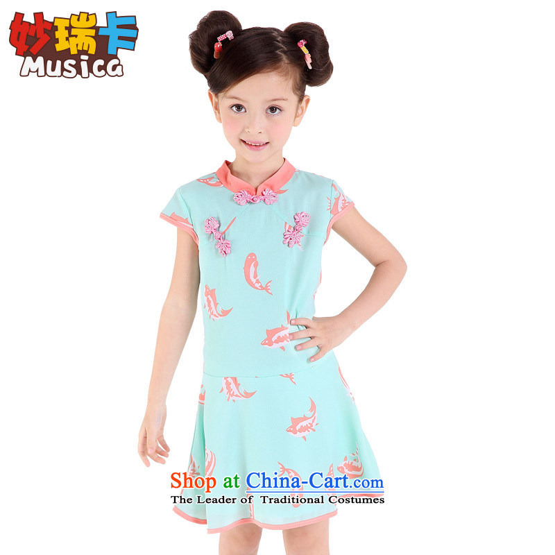 Mya@?2015 Summer CHILDREN'S APPAREL CHEONGSAM CUHK girls Tang Dynasty Show dresses guzheng will serve light green (A lined) 160